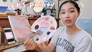 when you don't know what to paint, paint the sky | painting with nina 5