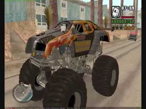 CJ likes to destroy San Andreas with a giant monster truck