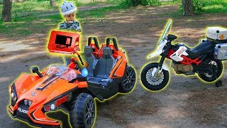 Funny Tema ride on Cross bike Power Wheels car run out of fuel Toys video for kids