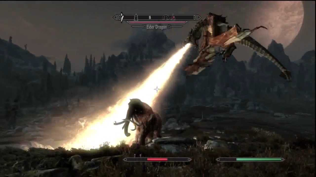 Skyrim Mammoth vs Dragon Dragon vs Giant vs Mammoth