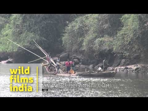 Illegal sand mining in process on river beds in Kerala