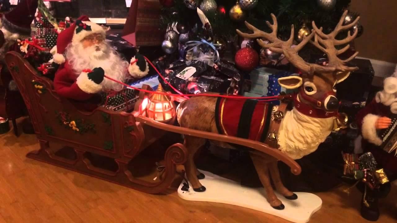 Holiday Creation Animated Reindeer Amp Santa In Sleigh YouTube