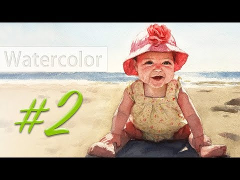 Portrait of a baby girl - watercolor painting step by step #2