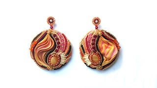 Beading4perfectionists: Shibori silk embroidery earrings part 3