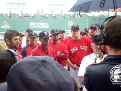 Johnny Pesky retiring number 6 at Fenway Park Sept. 28, 2008.