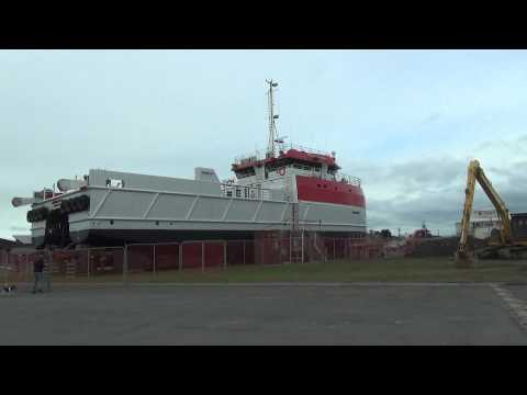 OFFSHORE GUARDIAN getting prepared for launch at Foxton Beach N.Z