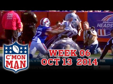 ESPN C'MON MAN! for Week 06, October 13, 2014 01. Patriot's Receiver Julian Edelman beats Buffalo Safety Duke Williams so he just shoves Julian Edelman to the ground. 02. Titans Quarterback...