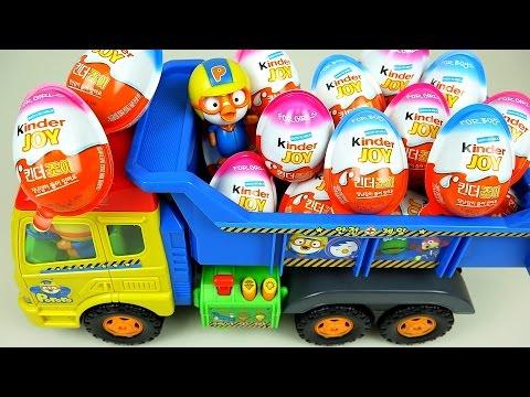 Kinder Joy Surprise eggs and Pororo truck toys