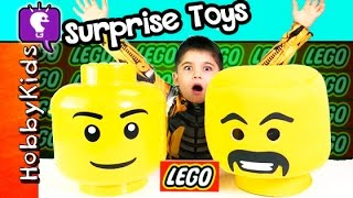 Giant LEGO Head SURPRISE Legos! MiniFig Blind Bags, Blind Boxes HobbyKidsTV