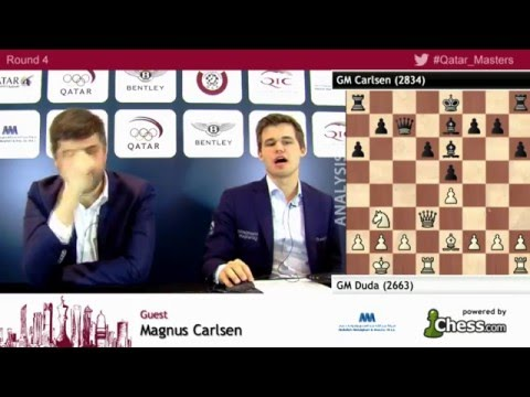 Magnus Carlsen beats Gm Duda, post game analysis at rd4 - Qatar Masters Open 2015