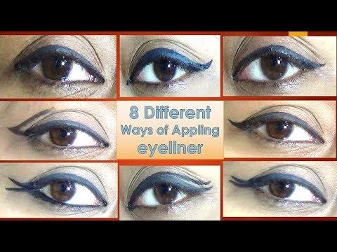 Eyeliner application tutorial - 8 different eyeliner looks - DIY step by step tutorial