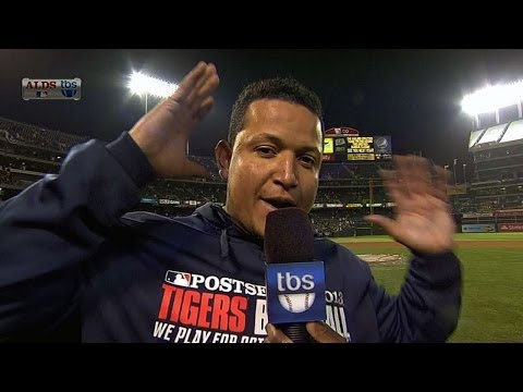Cabrera jokes with Pedro about his afro