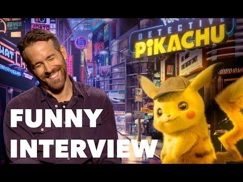 DETECTIVE PIKACHU Cast Interview: Ryan Reynolds, Justice Smith, Kathryn Newton, Rob Letterman
