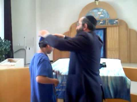 Chabad Hebrew Academy- Post-bar mitzvah- wrapping Tefillin - 05/13/2012
