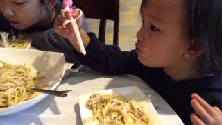 Kids eating pasta at grappas