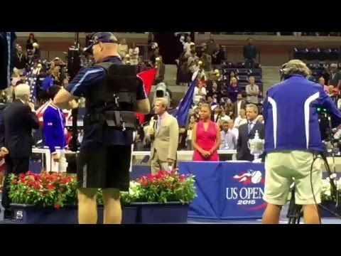 Presentation of US Open Mens Final trophies to runner-up Roger Federer (Sept. 13, 2015)