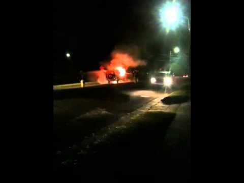 Fire in car while driving