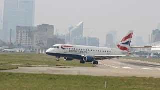 First Embraer ERJ-170 takeoff for pilot! British Airways crosswind takeoff from London City