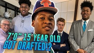 "7'0"" 15 Year Old Jahzare Jackson Pretends He Got Drafted By The KNICKS! Links With 7'7"" Tacko Fall!"