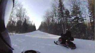 Fast snowmobile trail ride northern wi, michigan u