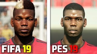 FIFA 19 vs PES 2019 Manchester United Player Faces Comparison