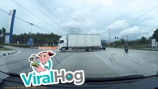 Truck Narrowly Escapes Crash