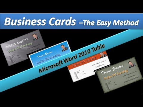 Business Card - Make Business Cards - Microsoft Word 2010 Tables