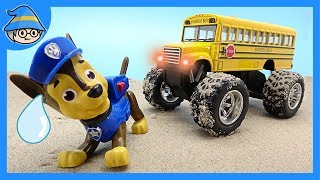 Paw Patrol and monster School buses run. Rescue the Paw Patrol team.