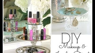 DIY Dollar Store Room Decor & Organization | DIY Jewelry & Makeup Tiered Trays