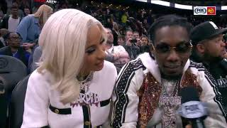 Cardi B and Offset give funny interview at Atlanta Hawks game