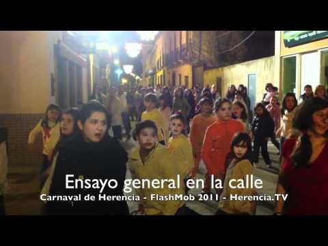 Ensayo general de FlashMob 2011 del Carnaval de Herencia - 25 febrero 2011