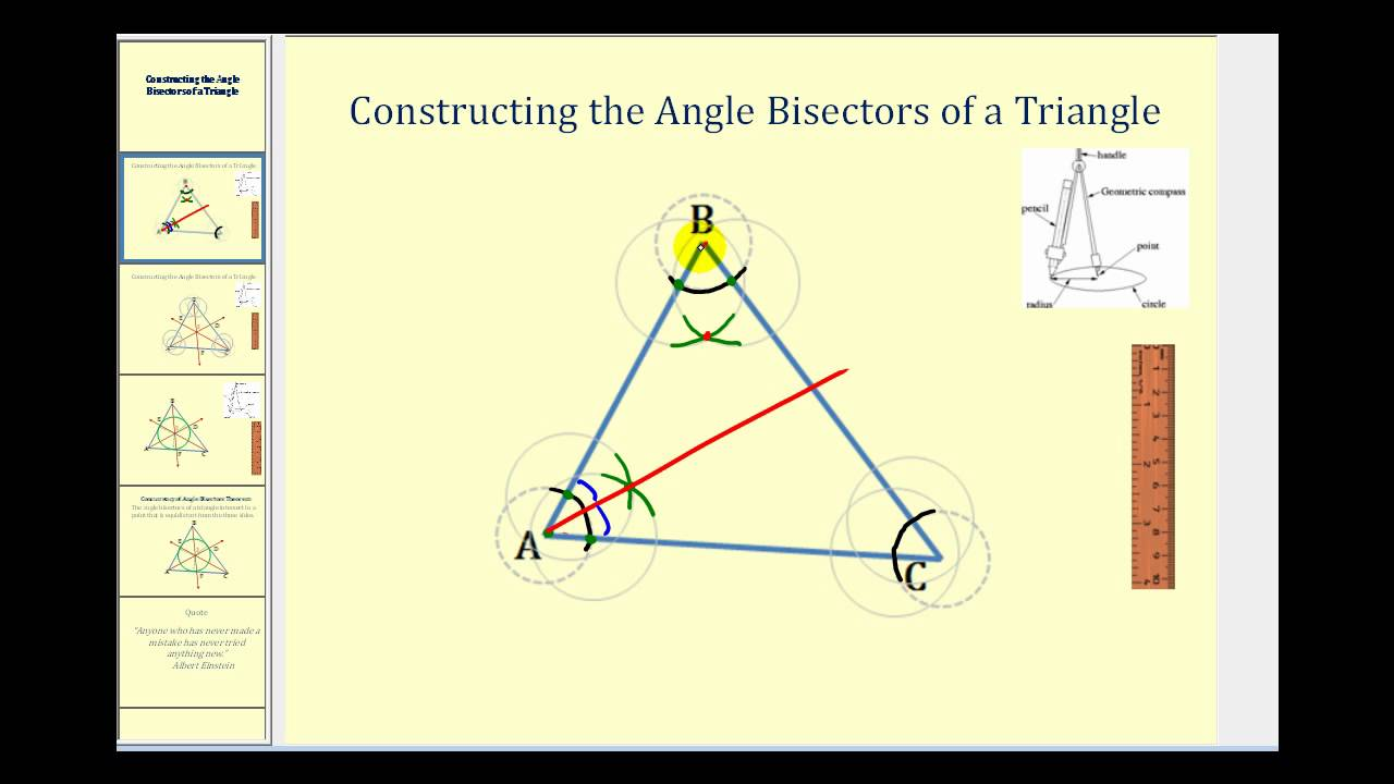 constructing the angle bisectors of a triangle youtube. Black Bedroom Furniture Sets. Home Design Ideas