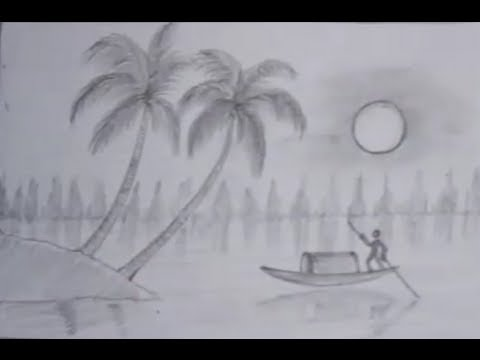Boat Scenery Drawing Drawing a Nature Scene