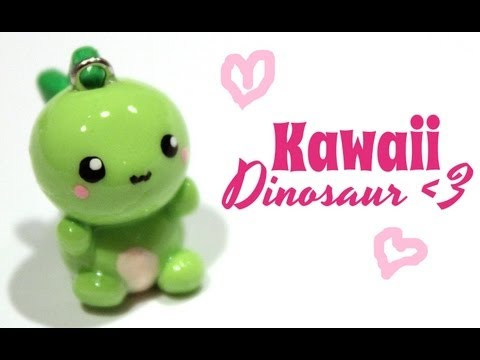 ◕‿‿◕ Dino! Kawaii Friday 66 (Tutorial in Polymer Clay)