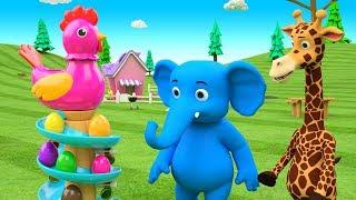 Cartoon Elephant & Giraffe Fun Play Learn Numbers for Children - Hen Color Eggs Slider Toy Set Kids