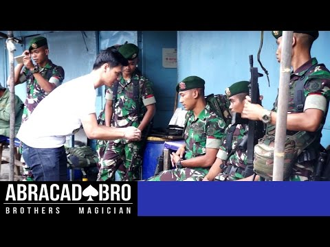 Magician Ask Soldiers To Fight - abracadaBRO HYPNOSIS MAGIC PRANK INDONESIA