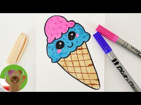 Malowanie & Rysowanie Dla Dzieci | Niebieskie Lody W Wafelku W Stylu Kawaii