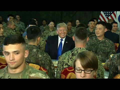 Raw: Trump Has Lunch With US, SKorean Troops