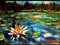 Speed painting Water Lilies & Lake Impressionist Acrylic on small canvases by Rami Benatar