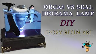 """TRAPPED""- ORCAS vs SEAL Diorama/Lamp - Epoxy resin Art"