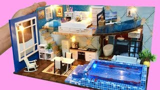 DIY 2-STOREY CINDERELLA DOLLHOUSE with a REAL SWIMMING POOL