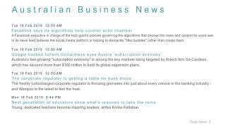 Business News Headlines for 19 Feb 2019 - 8 AM Edition