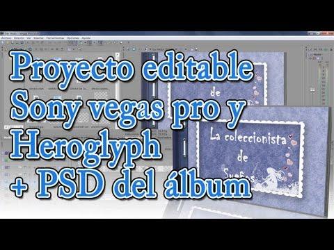 Proyecto álbum con hojas pasando editable en Sony vegas Pro y Heroglyph.