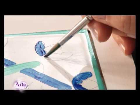 C mo decorar azulejos con esmalte acr lico youtube for Azulejos para decorar