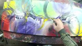 Abstract acrylic painting Demo HD Video - Lilium by John Beckley