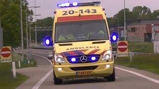 A1: Ambulance's 20-141, 20-143 + 20-147 zijn met spoed onderweg naar spoedmeldingen