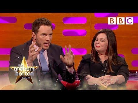 Melissa McCarthy and Chris Pratt's head shots - The Graham Norton Show - Episode 8 - BBC One