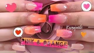 Pink & Orange | Full nail tutorial | Real time | Using CJP Colour acrylic