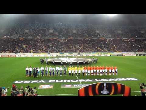 Выход игроков на поле и гимн Лиги Европы в матче Шахтёр - Шальке-04
