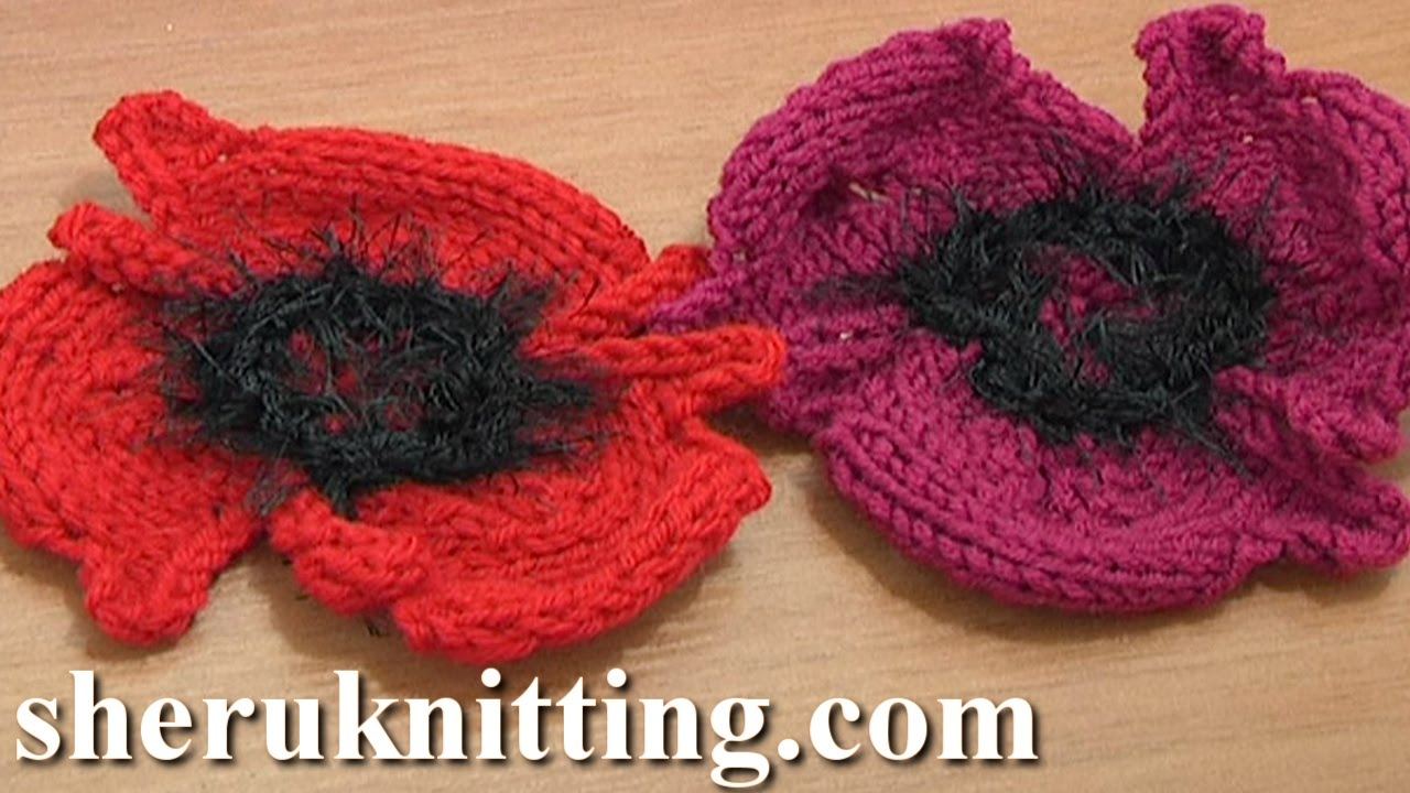 Easy Afghan Knitting Patterns Free : Knitting Flower Patterns Tutorial 14 Free Poppy Flower to Knit - YouTube